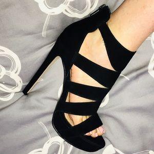 Steve Madden Black Suede Cage Style Black Heels